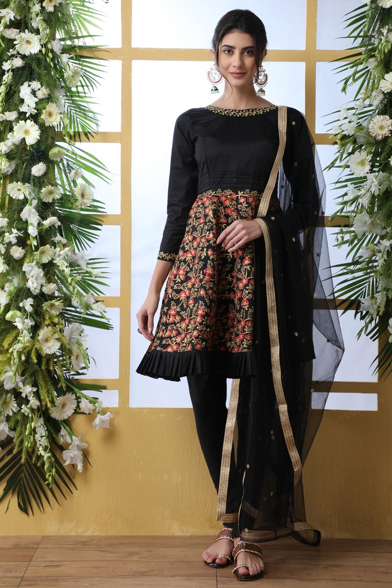 Party Style Black Color Thread Embroidered Designer Suit In Art Silk Fabric