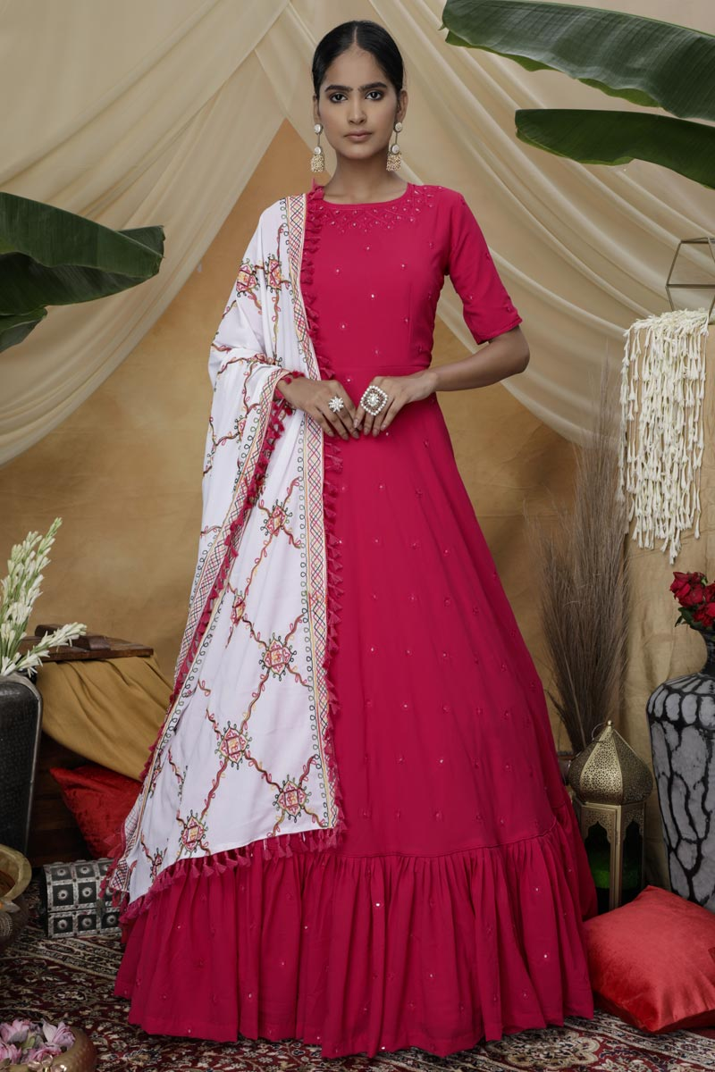 Designer Sangeet Wear Rani Color Georgette Fabric Thread Embroidered Gown