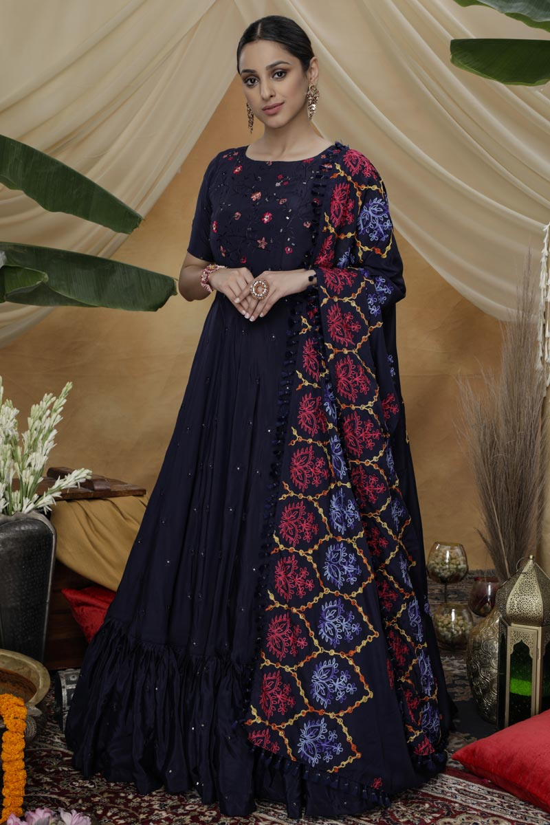 Sangeet Wear Art Silk Fabric Designer Thread Embroidered Gown In Navy Blue Color