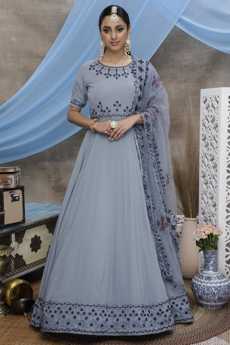 Designer Georgette Fabric Sangeet Wear Thread Embroidered Grey Color Gown