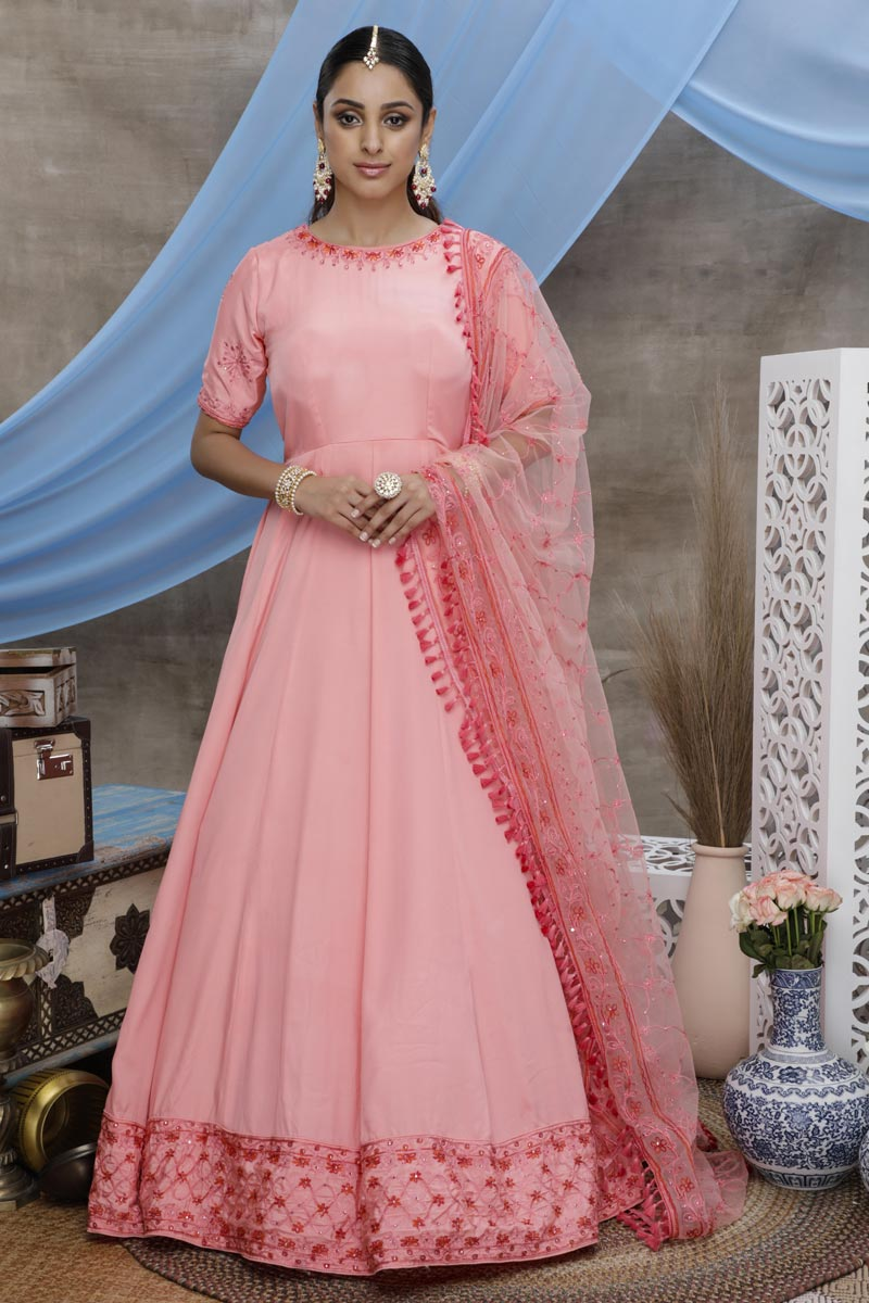 Art Silk Fabric Sangeet Wear Designer Thread Embroidered Gown In Pink Color