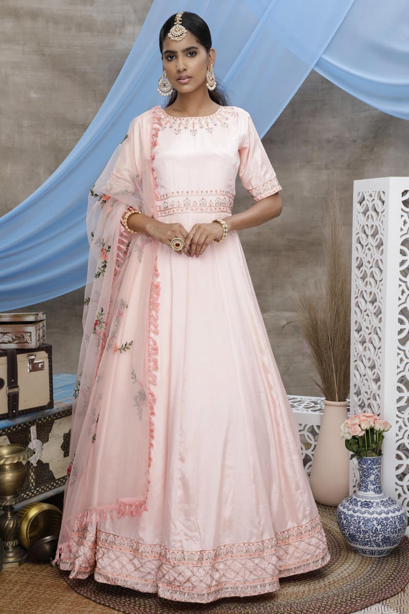 Designer Sangeet Wear Georgette Fabric Peach Color Thread Embroidered Gown
