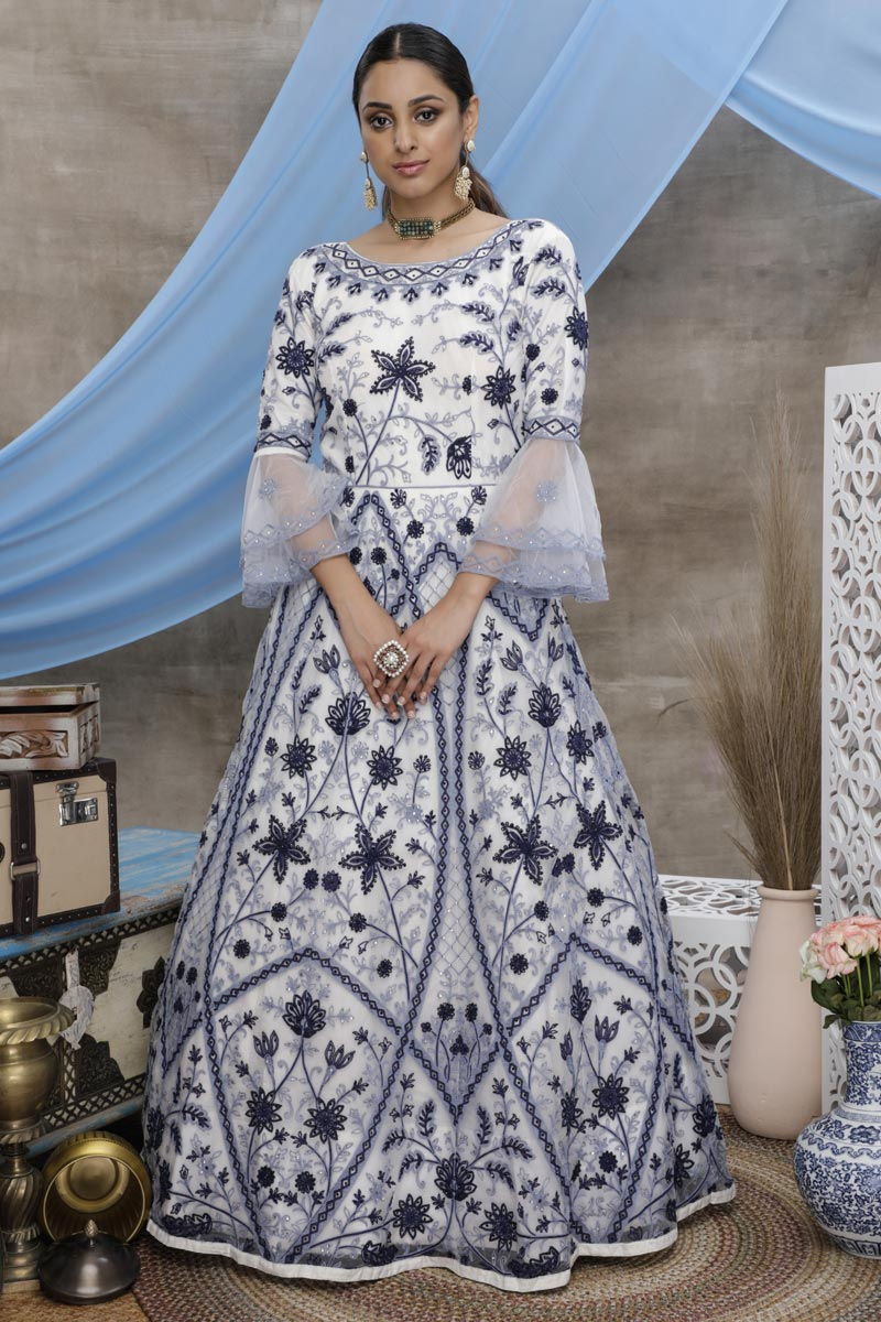White Color Function Wear Designer Thread Embroidered Gown In Net Fabric