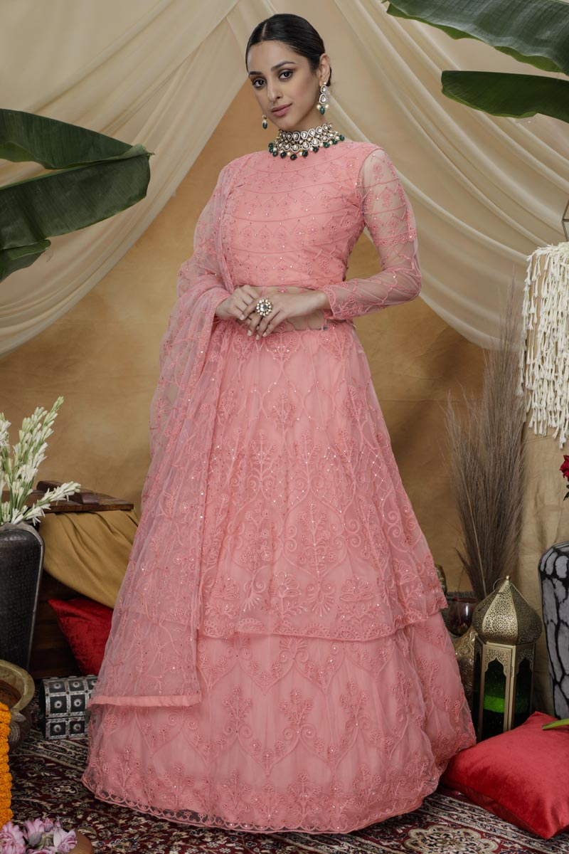 Designer Function Wear Pink Color Net Fabric Thread Embroidered Lehenga Style Gown
