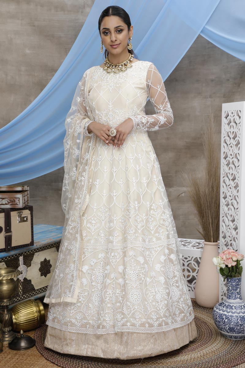 Function Wear Net Fabric Designer Thread Embroidered Gown In Off White Color