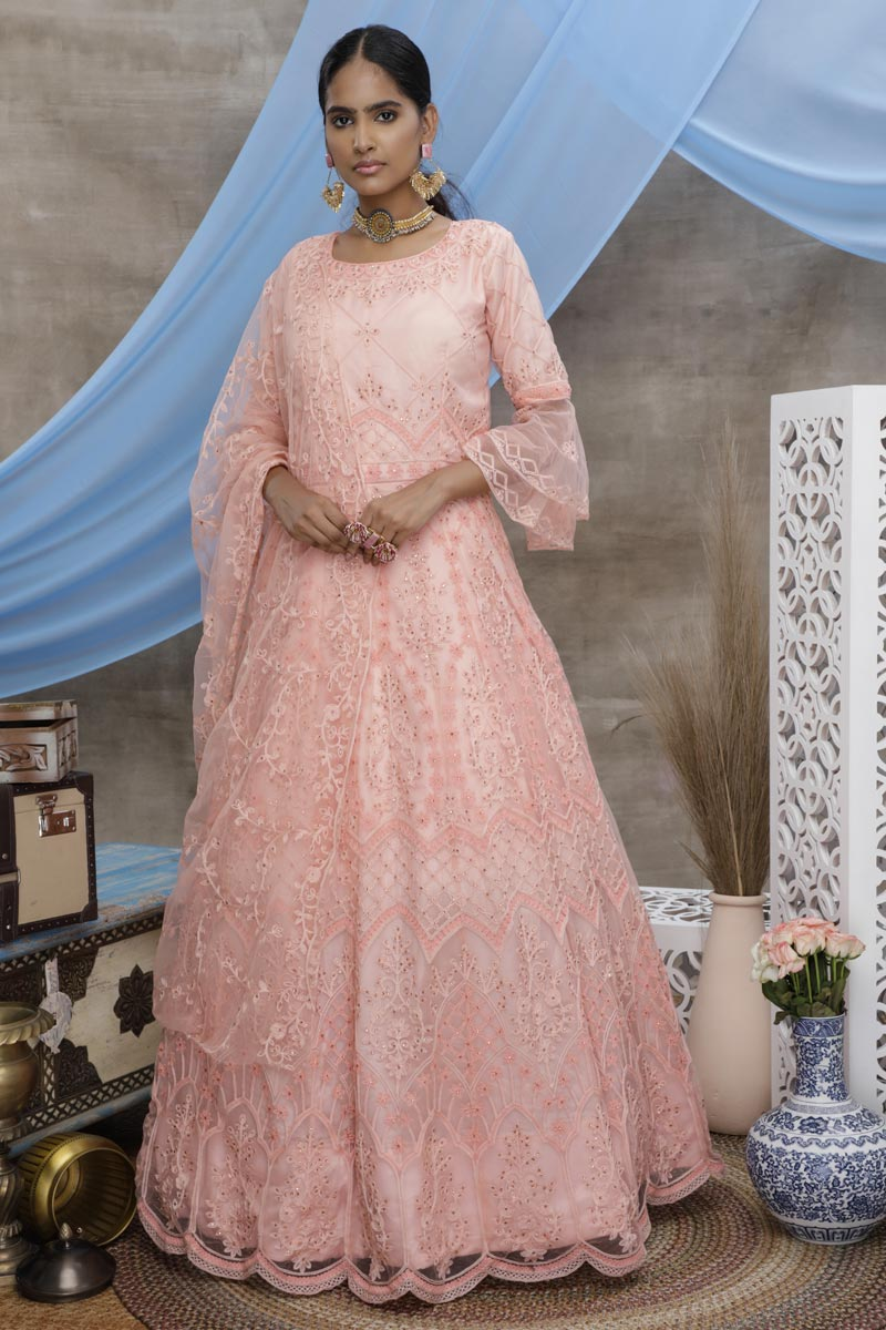 Designer Net Fabric Function Wear Thread Embroidered Peach Color Gown