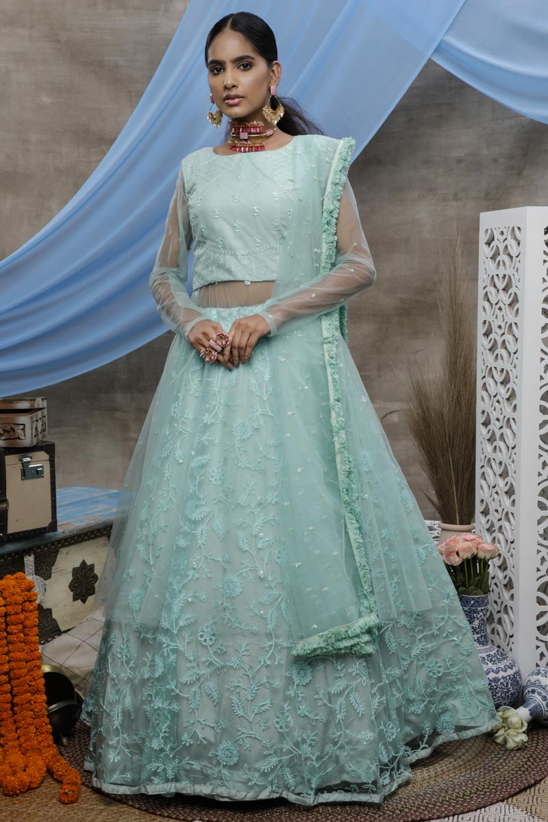 Net Fabric Function Wear Designer Thread Embroidered Lehenga Style Gown In Sea Green Color