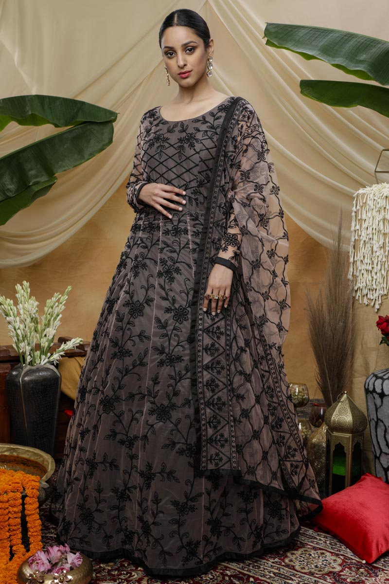Designer Function Wear Net Fabric Black Color Thread Embroidered Gown