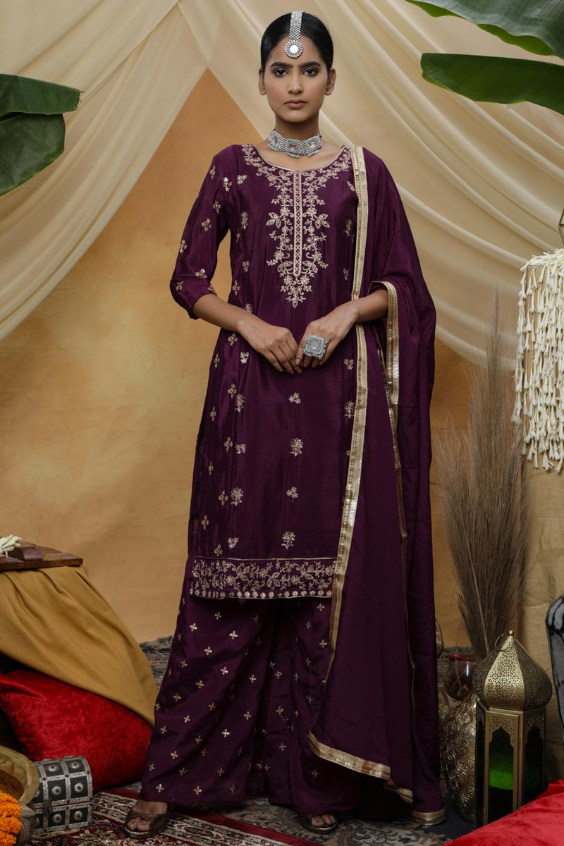 Chic Purple Color Festive Wear Embroidered Chinon Fabric Palazzo Suit
