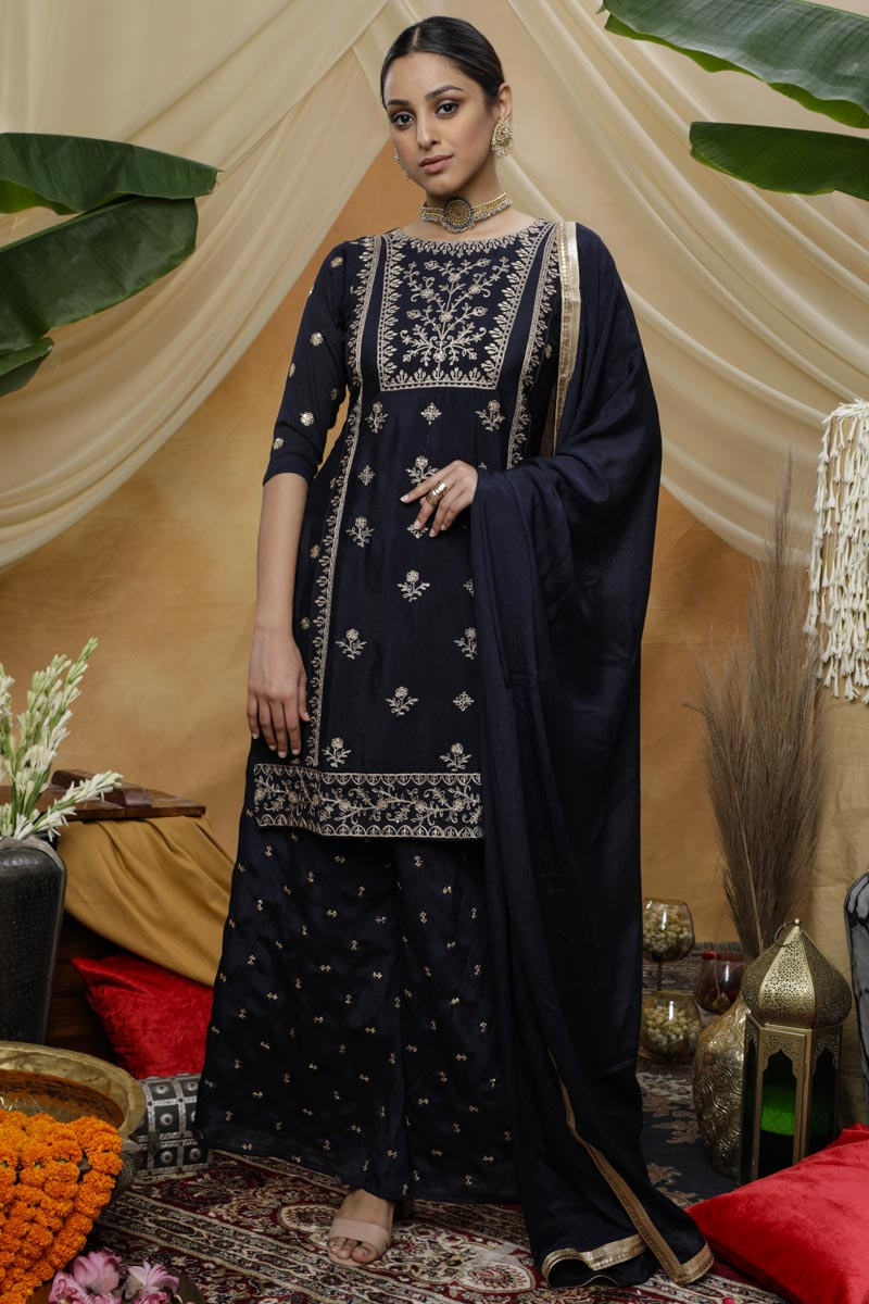 Navy Blue Color Festive Wear Chic Embroidered Chinon Fabric Palazzo Dress