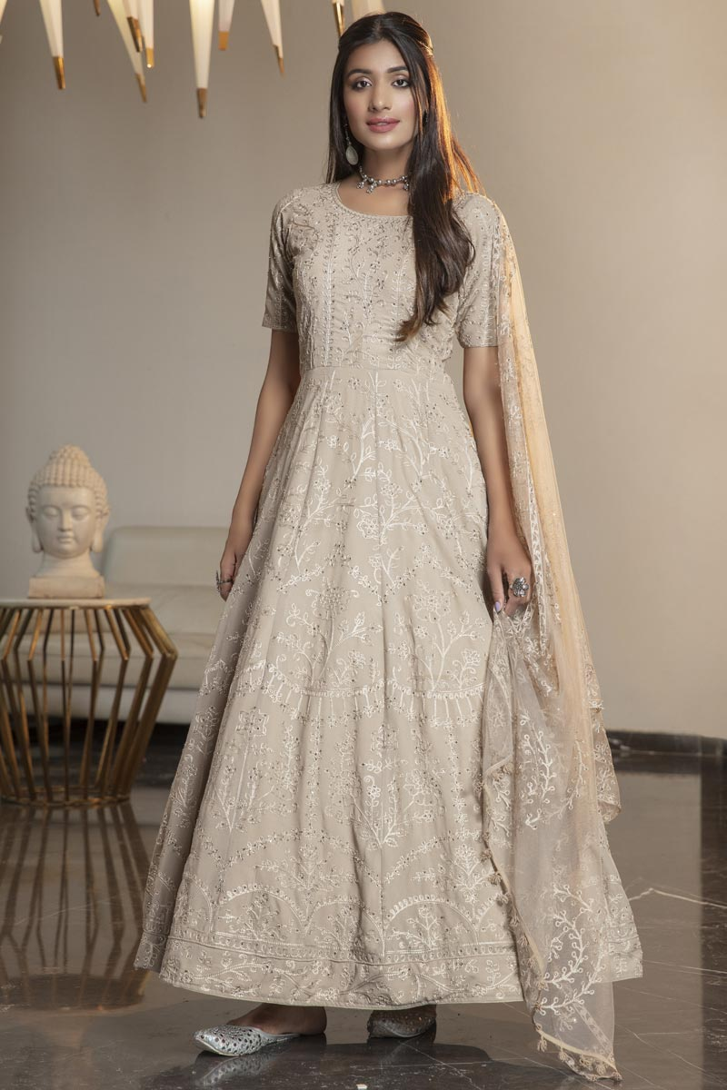 Fancy Party Wear Beige Color Georgette Fabric Thread Embroidered Gown