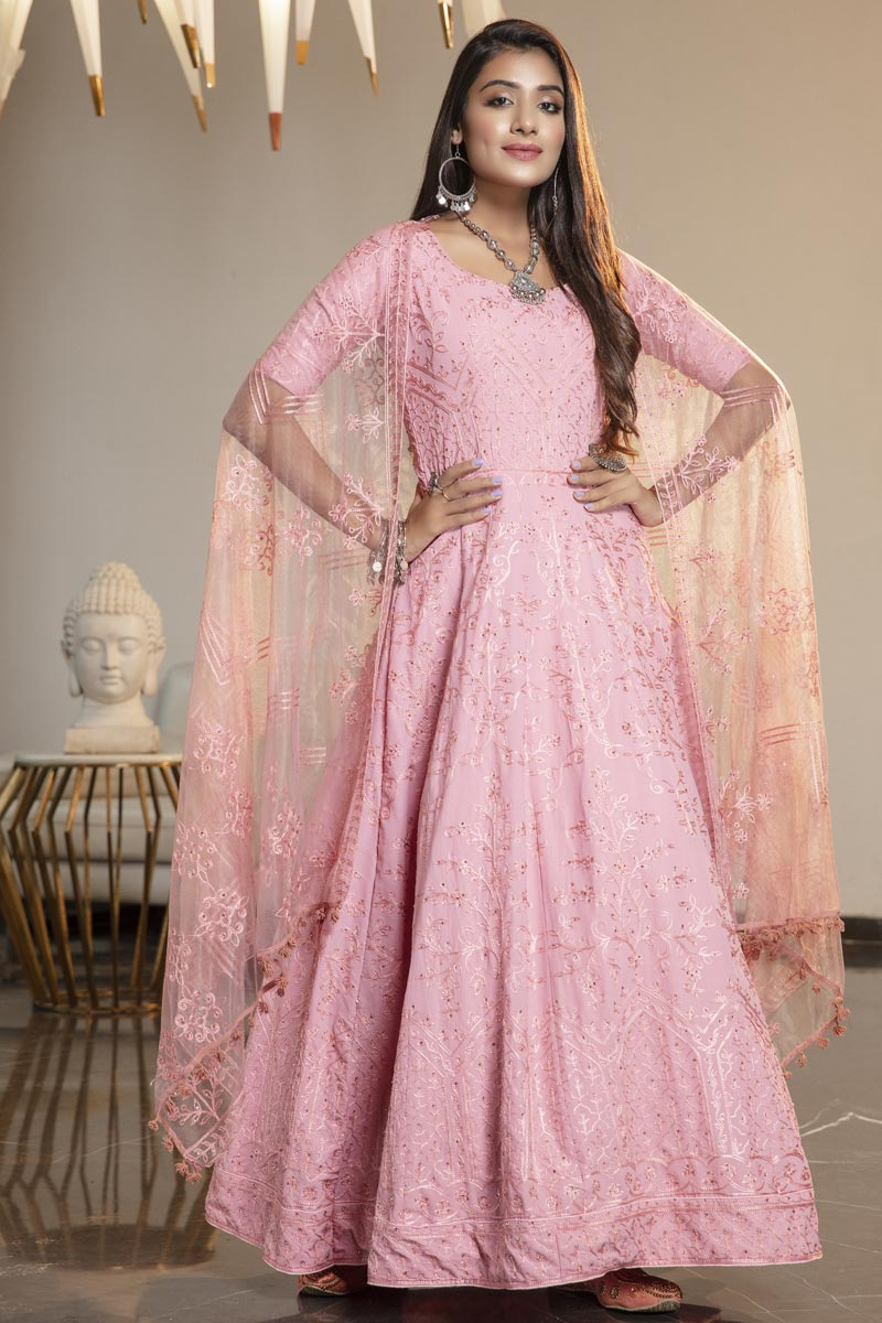 Party Wear Georgette Fabric Fancy Thread Embroidered Gown In Pink Color