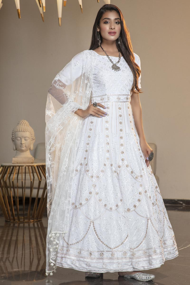 Fancy Georgette Fabric Party Wear Thread Embroidered White Color Gown