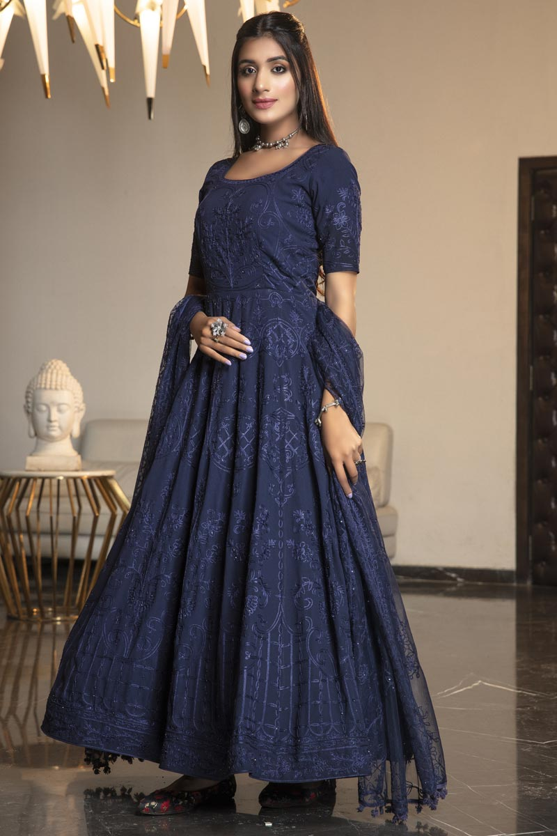 Georgette Fabric Party Wear Fancy Thread Embroidered Gown In Navy Blue Color