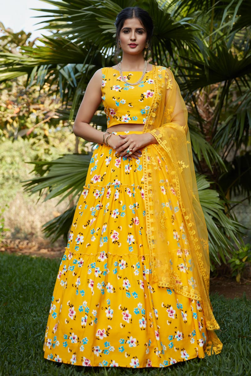 Occasion Wear Lehenga In Yellow Color Crepe Silk Fabric