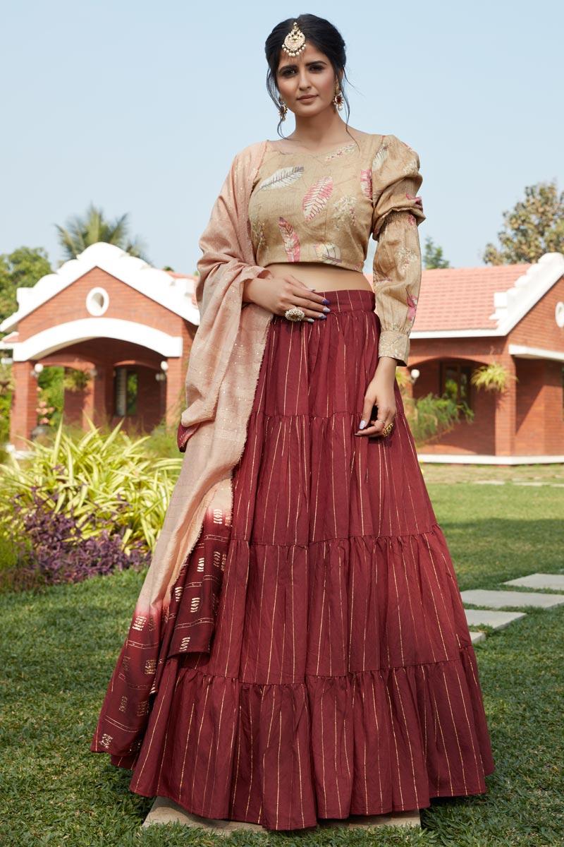 Maroon Color Cotton Fabric Sangeet Wear Lehenga