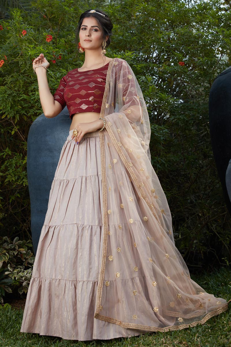 Pink Color Printed Cotton Fabric Wedding Wear Lehenga