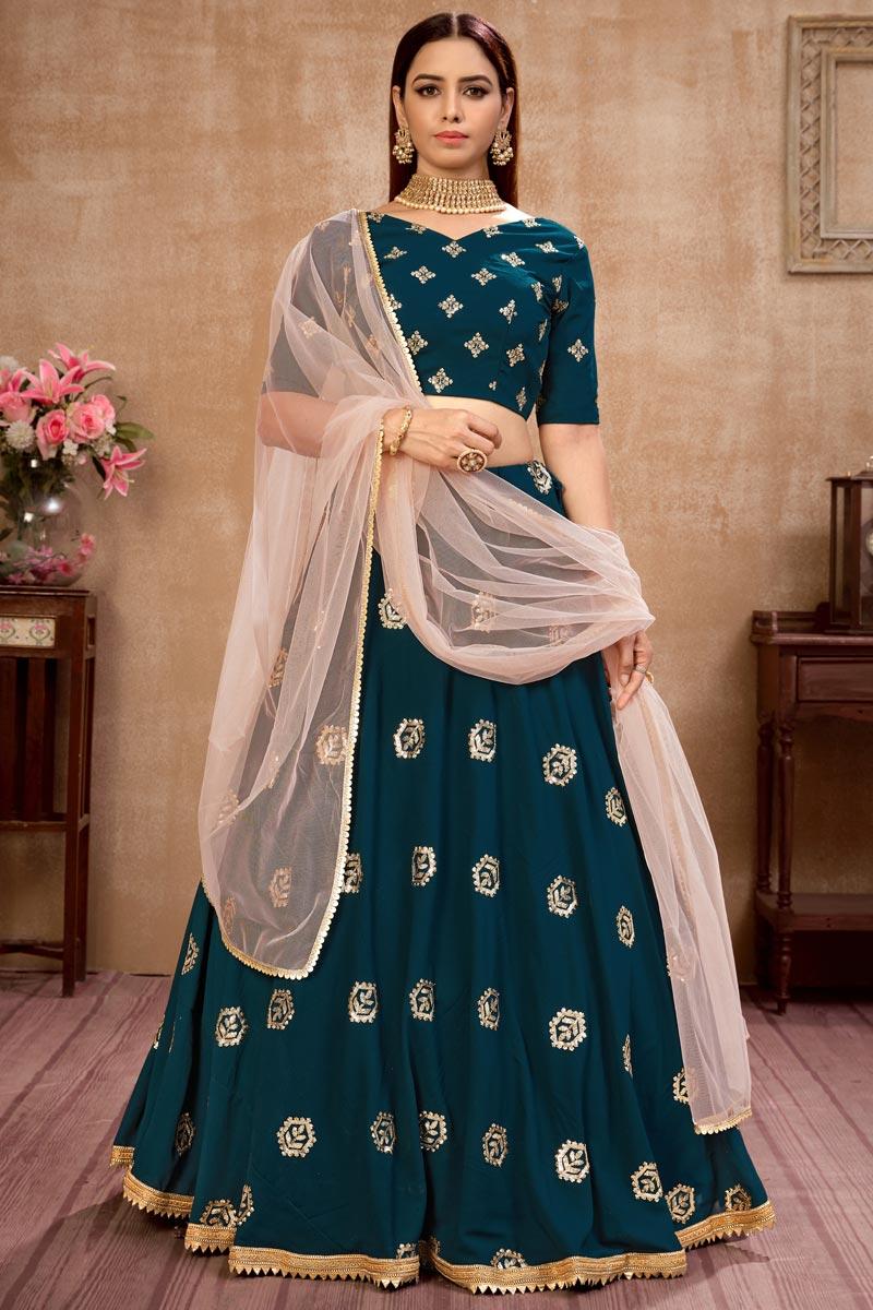 Teal Color Embroidery Work Designer Wedding Wear Georgette Fabric Lehenga