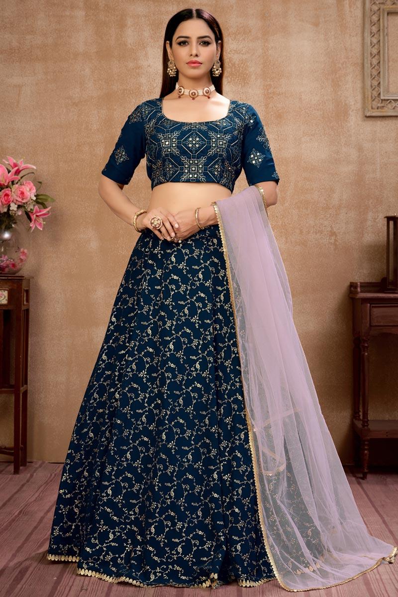 Navy Blue Color Georgette Fabric Function Wear Fancy Lehenga Choli