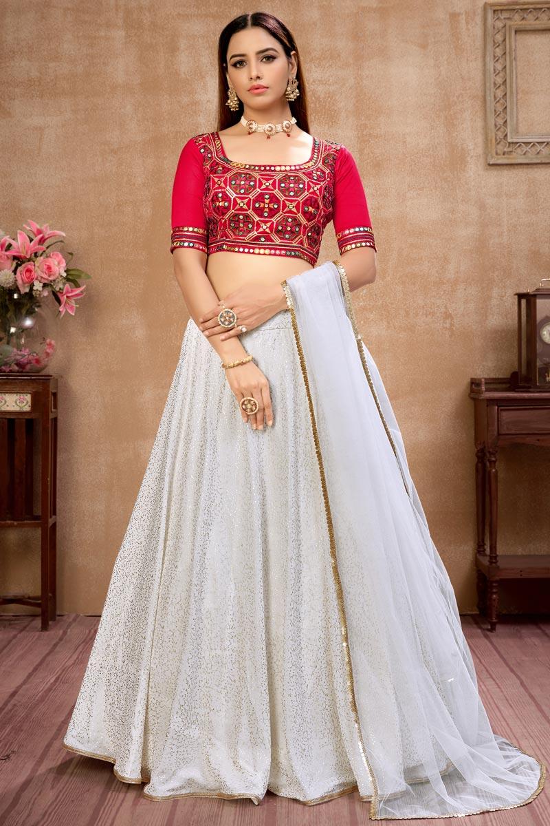 Georgette Fabric Fancy Work Festive Wear Trendy Lehenga Choli In Off White Color
