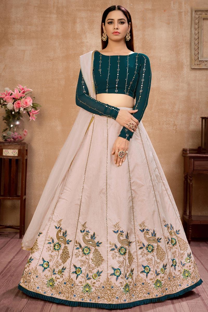 Embroidery Work Sangeet Wear Stylish Lehenga Choli In Beige Color Art Silk Fabric