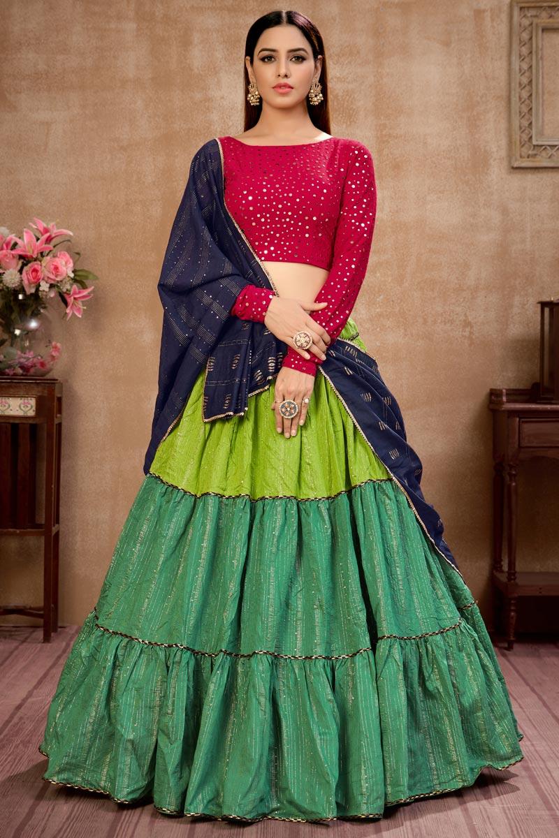 Cotton Fabric Sequins Work Wedding Wear Designer Lehenga Choli In Green Color