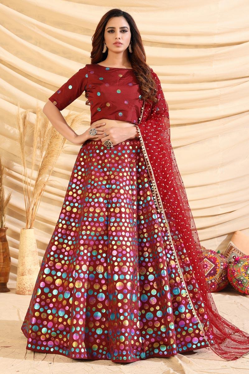 Art Silk Fabric Maroon Color Wedding Wear Foil Print Lehenga Choli