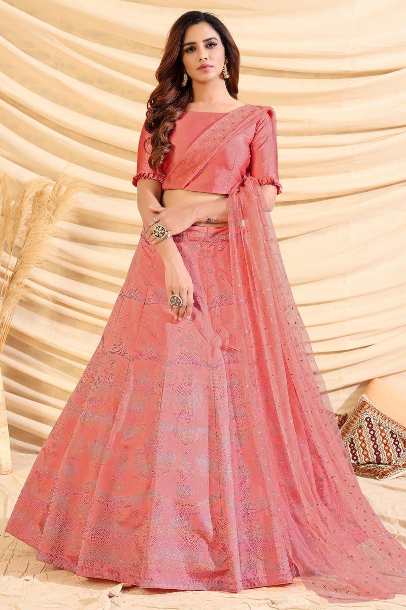 Pink Color Reception Wear Art Silk Fabric Foil Print Lehenga Choli