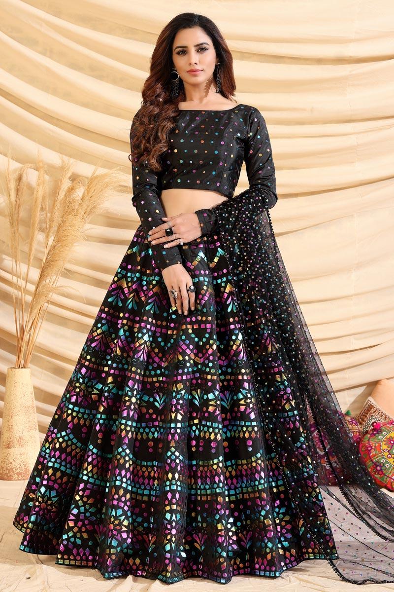 Sangeet Wear Art Silk Fabric Foil Print Black Color Designer Lehenga Choli