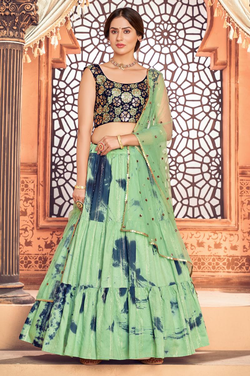 Cotton Fabric Festive Wear Sea Green Color Printed Lehenga Choli