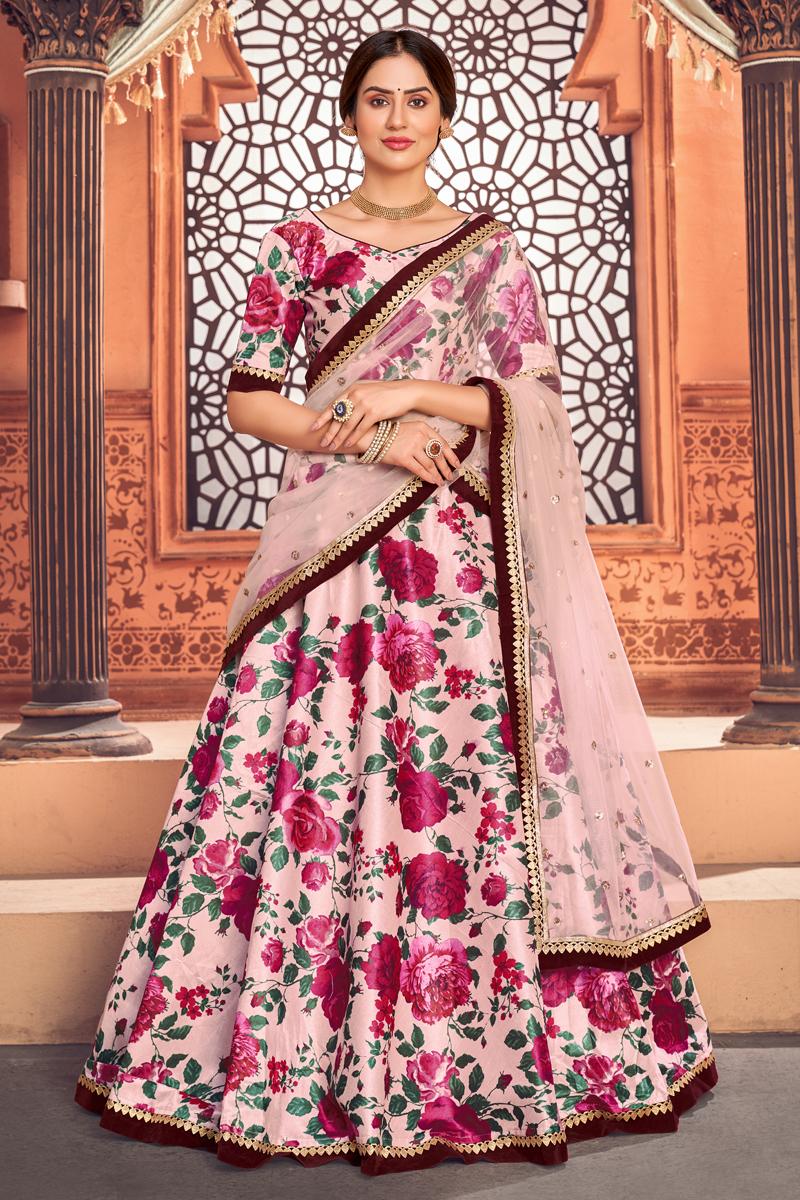 Peach Color Printed Sangeet Wear Lehenga Choli In Tafetta Silk Fabric