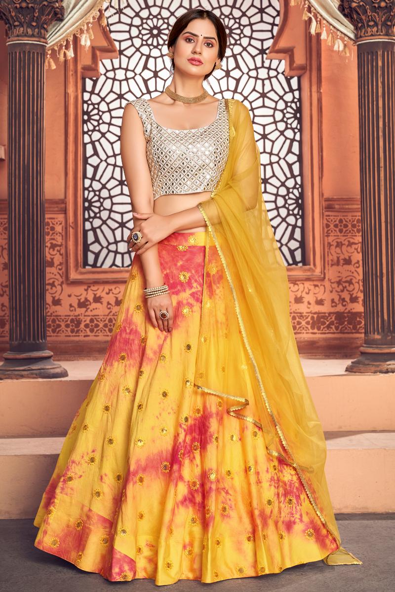 Cotton Fabric Printed Wedding Wear Lehenga Choli In Yellow Color