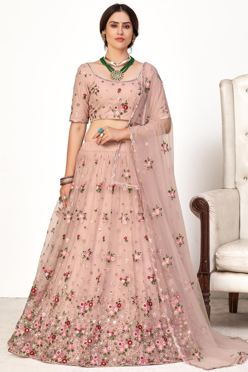 Wedding Wear Pink Color Embroidered Lehenga Choli In Net Fabric