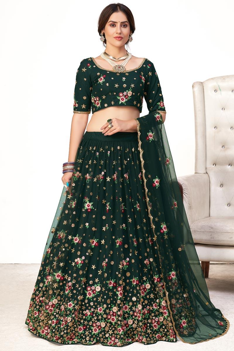 Dark Green Color Embroidered Wedding Wear Lehenga Choli In Net Fabric