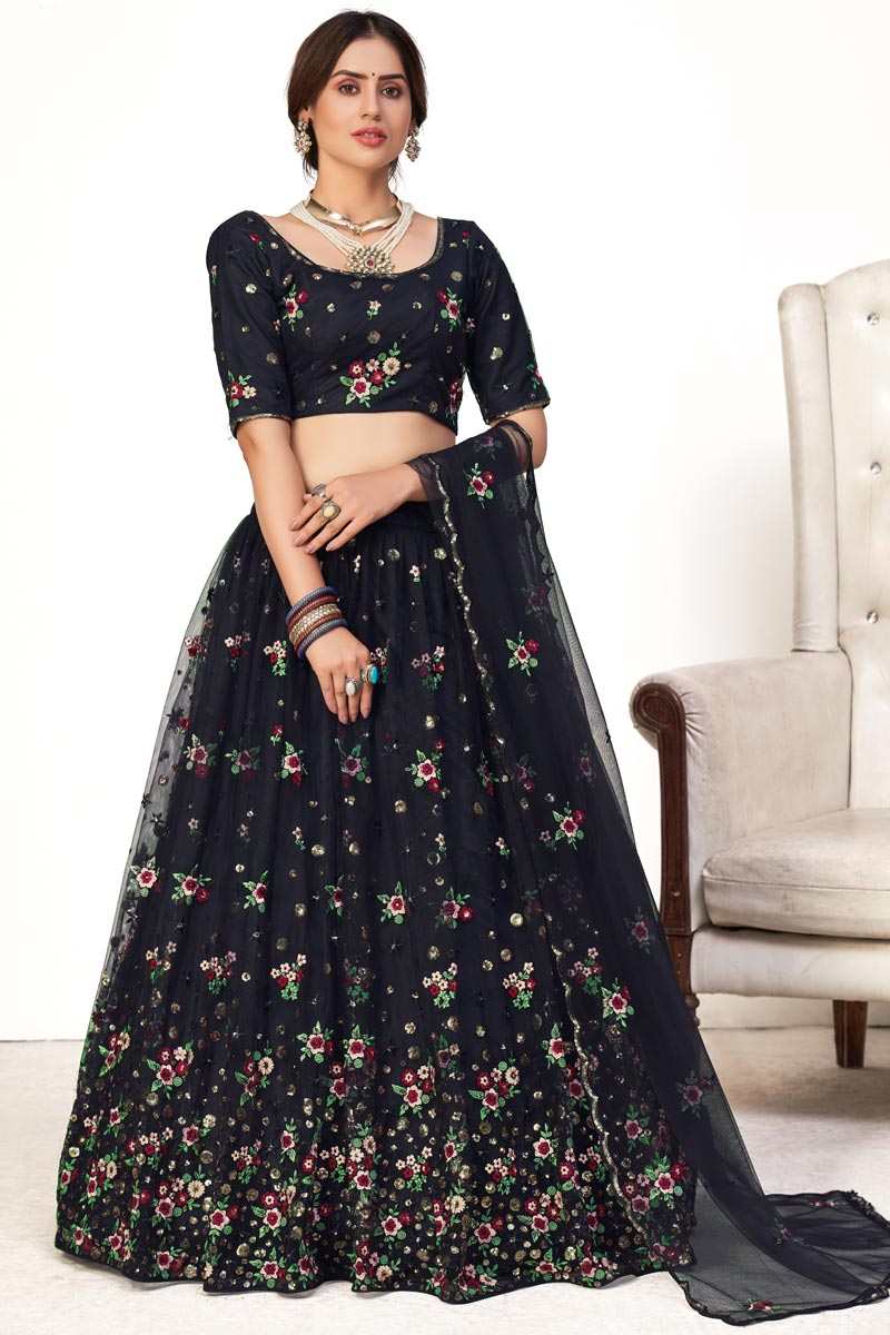 Wedding Wear Net Fabric Embroidered Lehenga Choli In Navy Blue Color