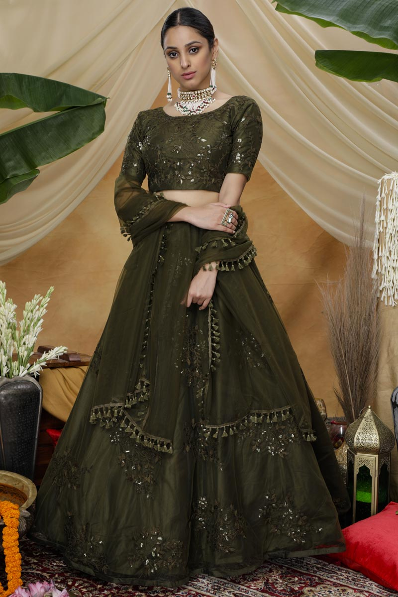 Thread Embroidered Mehendi Green Color Party Style Net Fabric Lehenga Choli