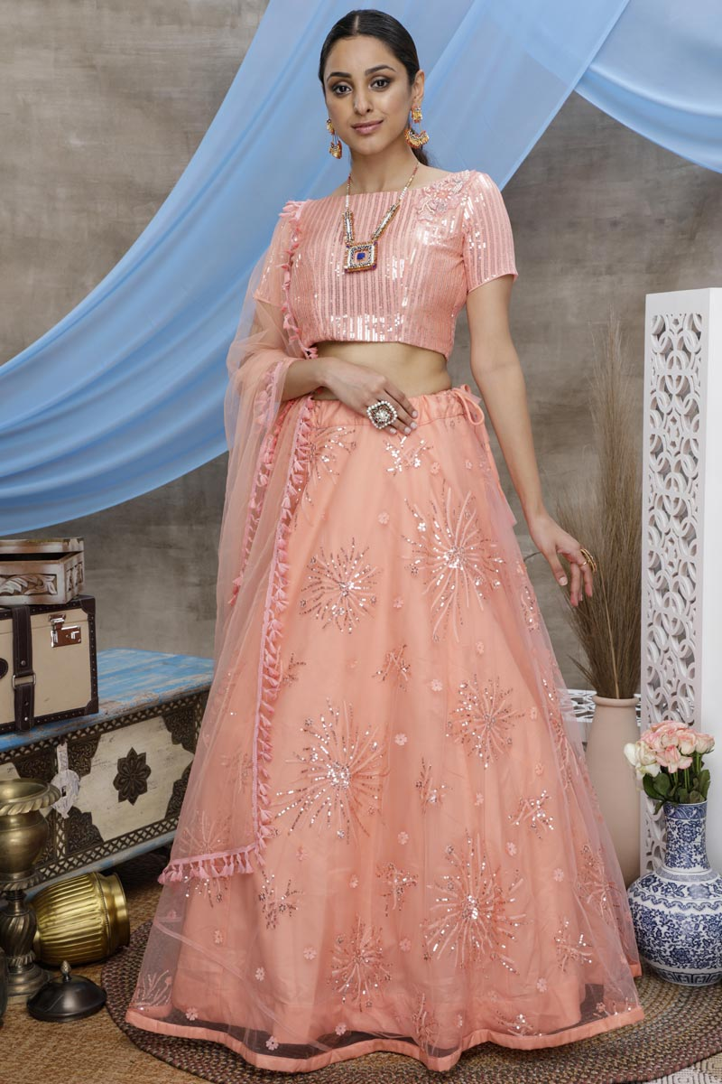 Peach Color Party Style Net Fabric Thread Embroidered Lehenga