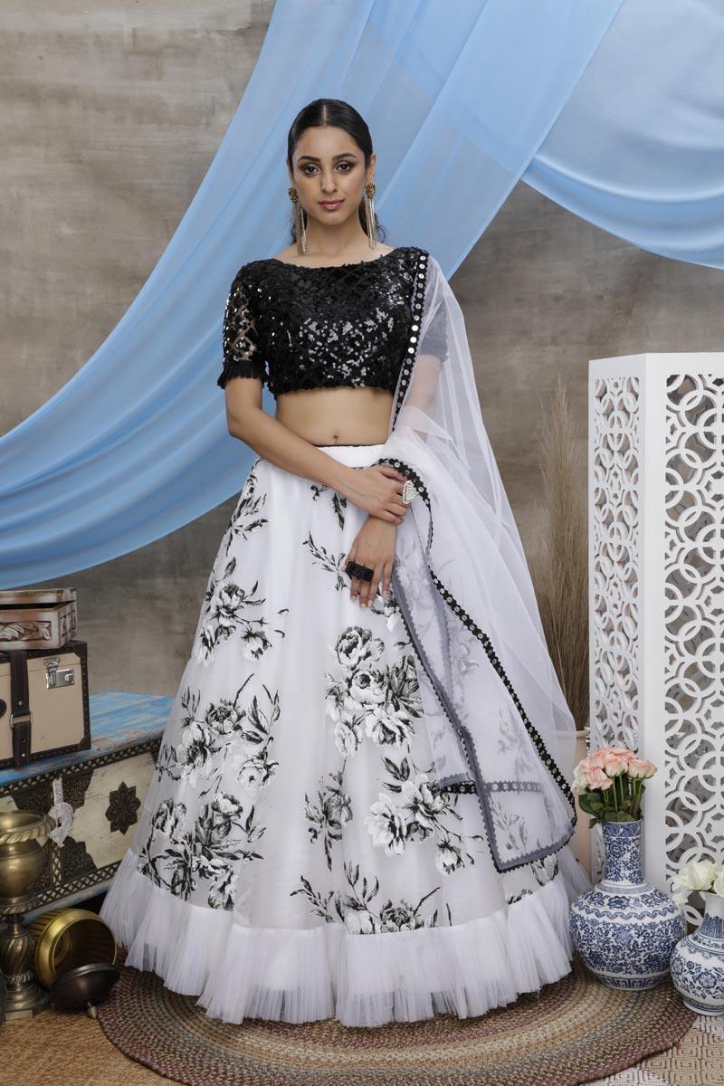 White Color Sangeet Wear Printed Lehenga In Fancy Fabric