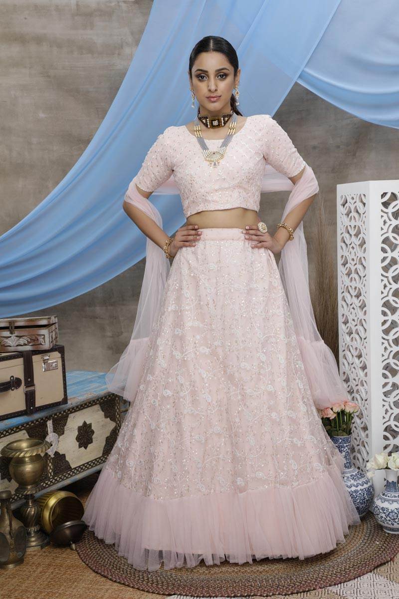 Thread Embroidered Peach Color Sangeet Wear Net Fabric Lehenga Choli