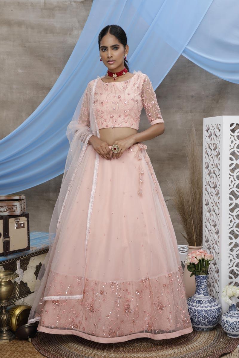 Peach Color Sangeet Wear Net Fabric Thread Embroidered Lehenga