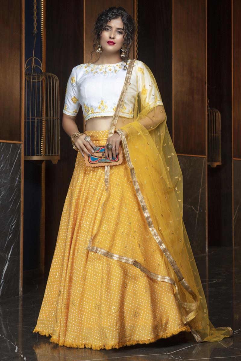 Yellow Color Cotton Fabric Reception Wear Lehenga Choli