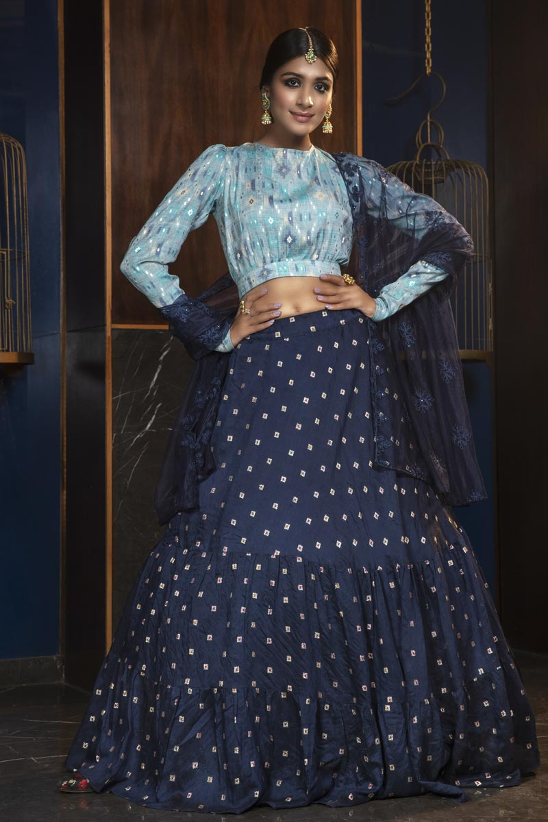 Navy Blue Color Designer Wedding Lehenga