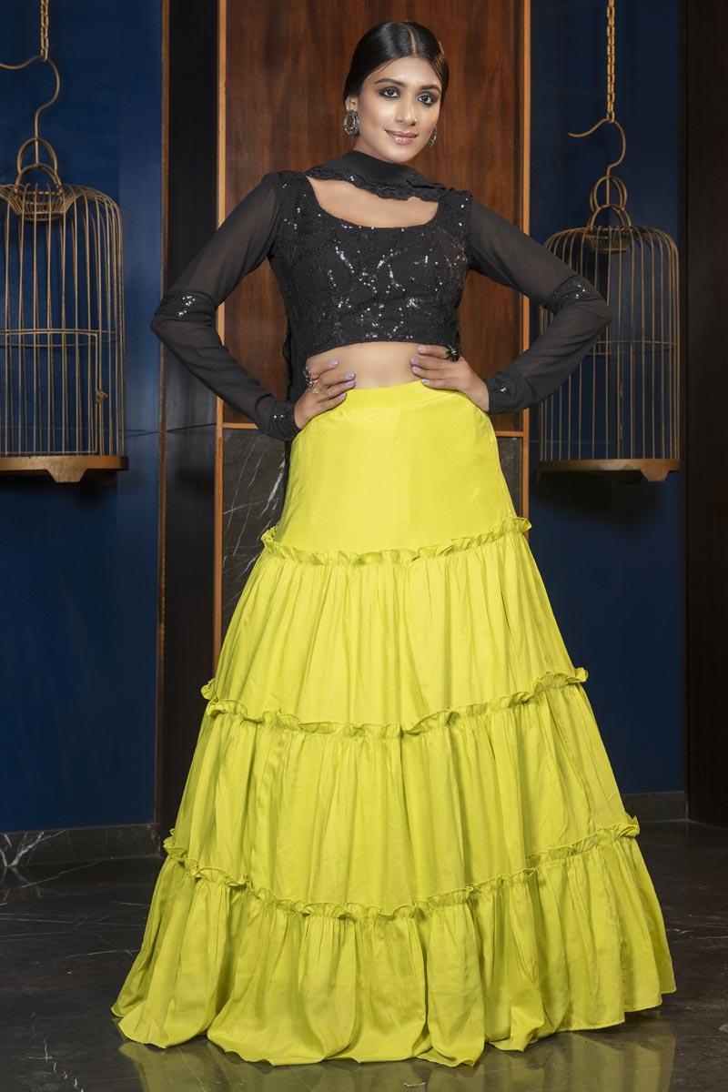 Green Color Cotton Fabric Reception Wear Lehenga Choli