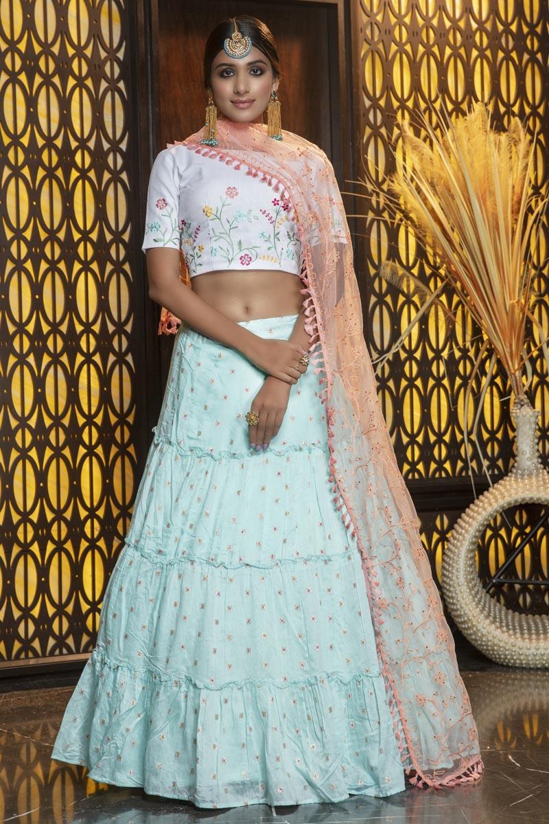 Elegant Light Cyan Color Festive Wear Cotton Fabric Lehenga Choli