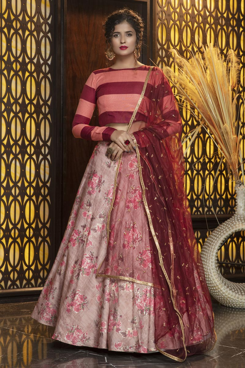 Pink Color Festive Wear Rayon Fabric Elegant Lehenga
