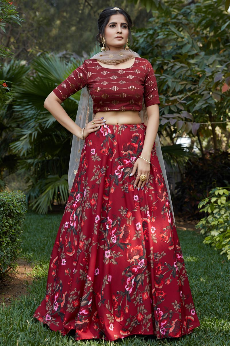 Maroon Color Designer Printed Lehenga Choli
