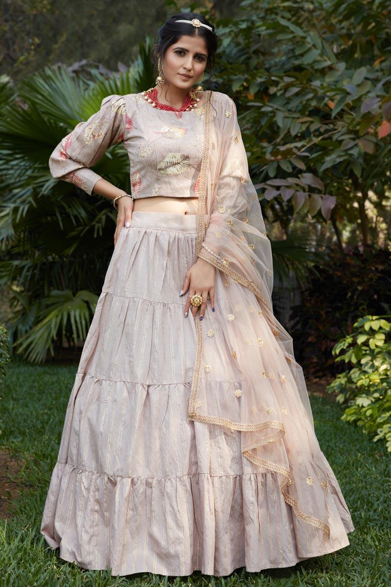 Cream Color Cotton Fabric Festive Wear Printed Lehenga Choli