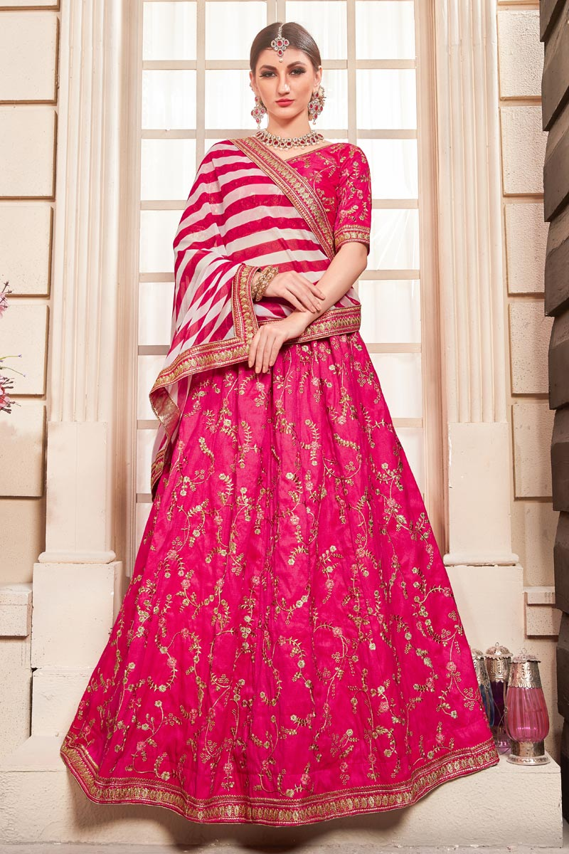 Eid Special Rani Embroidered Art Silk Party Wear Lehenga With Enchanting Blouse