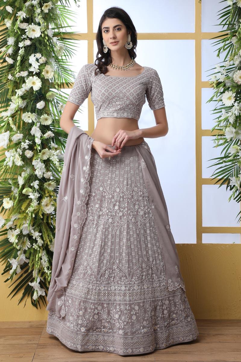 Eid Special Dark Beige Color Function Wear Designer Embroidered Lehenga In Georgette Fabric