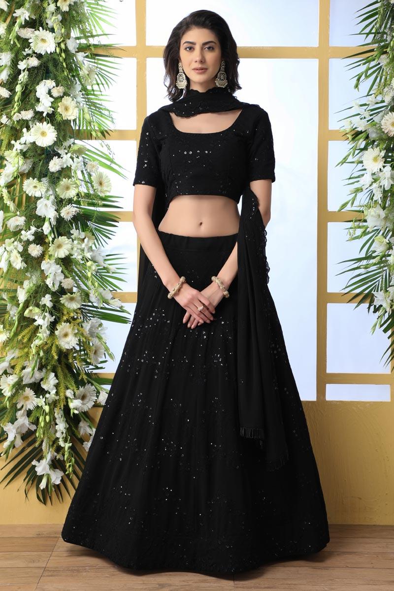 Black Color Function Wear Georgette Fabric Embroidered Designer Lehenga